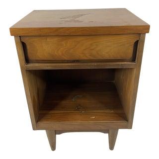 Vintage 60s Mid-Century Modern Scandinavian Walnut Wood Nightstand For Sale