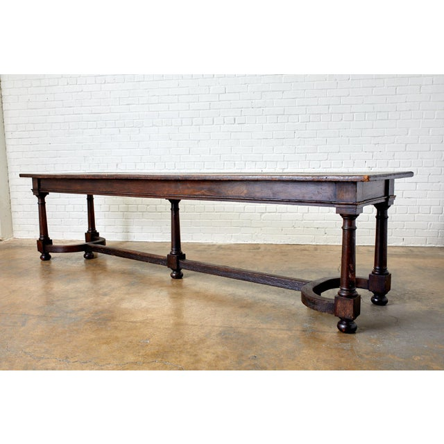 19th Century English Oak Refectory Dining Banquet Table For Sale - Image 10 of 13