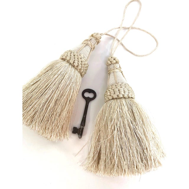 Textile Pair of Key Tassels in Cream With Looped Ruche Trim For Sale - Image 7 of 10