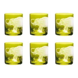 Jungle Baroque III Double Old Fashioned Glasses, Set of 6, Elephant, Olive For Sale