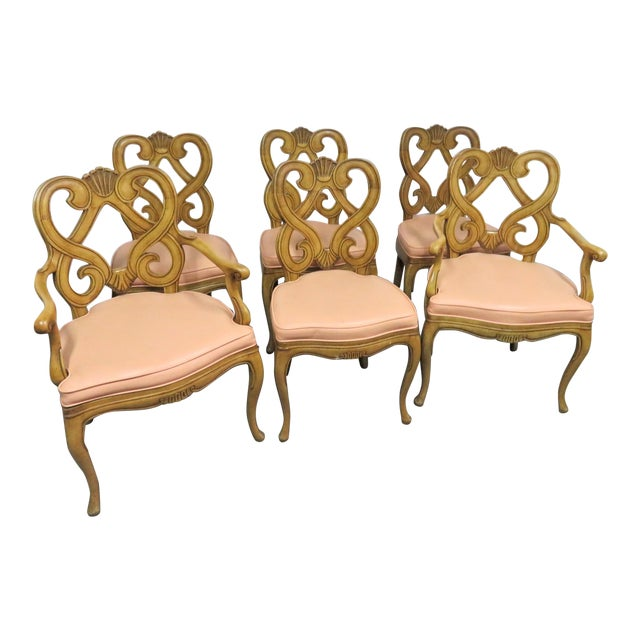 Louis XV Style Maple Shell Carved Dining Chairs- Set of 6 For Sale
