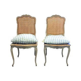 19th Century Antique French Painted Carved Chairs- A Pair For Sale