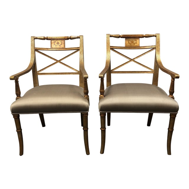 Louis XVI Gold Leaf Gray Silk Upholstered Armchairs - a Pair For Sale