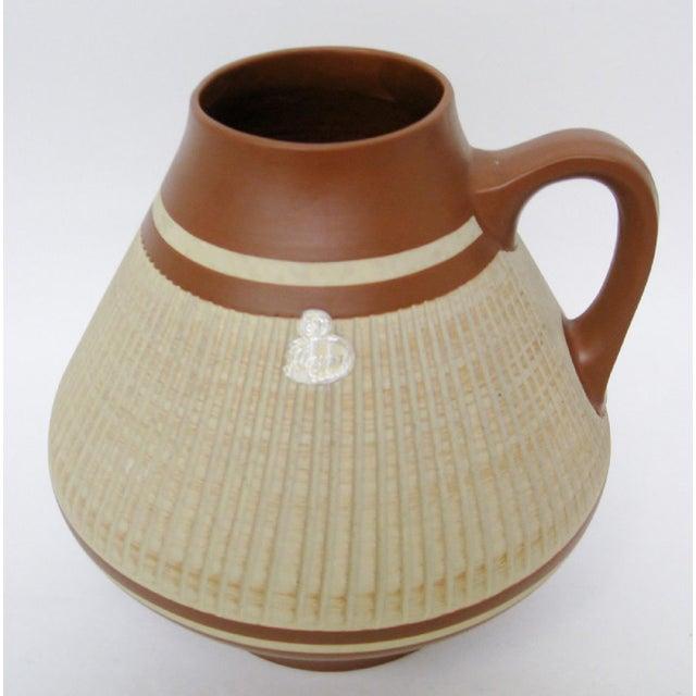 Vintage West German ceramic vase by ESR Sawa, in beige and sienna brown matte glaze, accented with sgraffito technique....