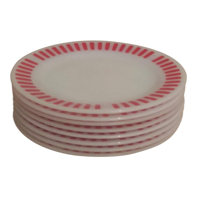 Hazel Atlas Red Candy Stripe Dinner Plates - Set of 8 For Sale