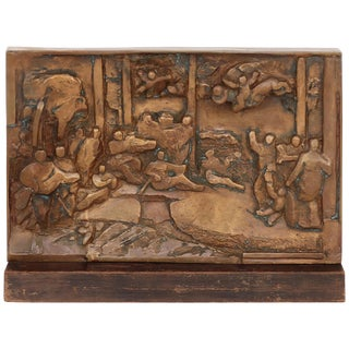 Natalie Charkow Hollander Bronze Sculpture Relief Plaque Signed & Dated 1981 For Sale