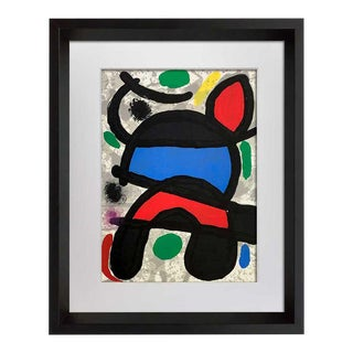 Joan Miro Original Numbered Limited Edition Lithograph No. 106 with Frame Included For Sale