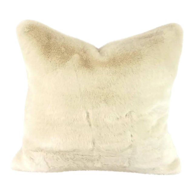 Kravet Bewitching Cream Faux Fur Pillow Cover For Sale