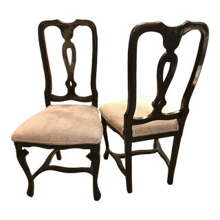 Black Lacquer and Light Blue Upholstered Chairs - a Pair For Sale