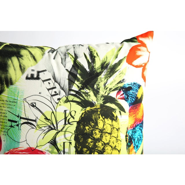 Pineapple Flamingo Art Tropical Decorative Euro Sham Pillow - Image 3 of 6