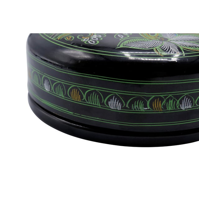 Late 20th Century Black & Green Lacquered Coasters - Set of 6 For Sale - Image 5 of 7