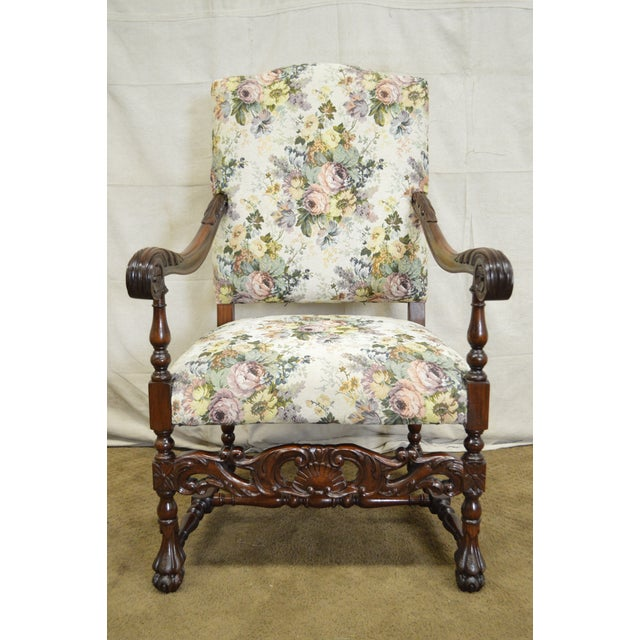 Antique French Louis XIII Style Carved Walnut Throne Chairs - A Pair -  Image 2 of - Antique French Louis XIII Style Carved Walnut Throne Chairs - A