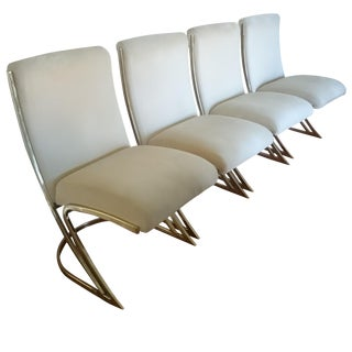 Set of Four Pierre Cardin Brass Dining Chairs For Sale