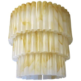 Marbled Tubes Chandelier by Venini For Sale
