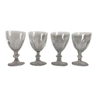 Vintage Clear Teardrop Cocktail Glasses S/4 For Sale