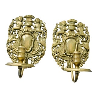 Solid Brass Cherub Candle Sconces - a Pair For Sale
