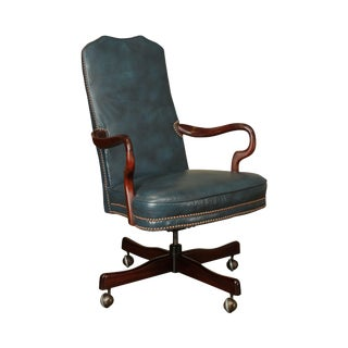 Classic Leather Mahogany High Back Desk Chair For Sale
