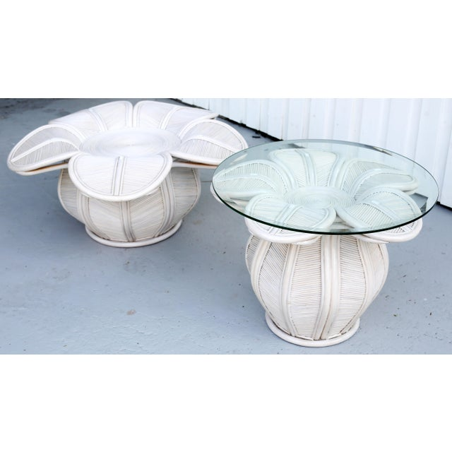 1970s Mid Century Modern Gabriella Crespi / Franco Albini Style Rattan Bell Flower Coffee Table For Sale In Tampa - Image 6 of 11