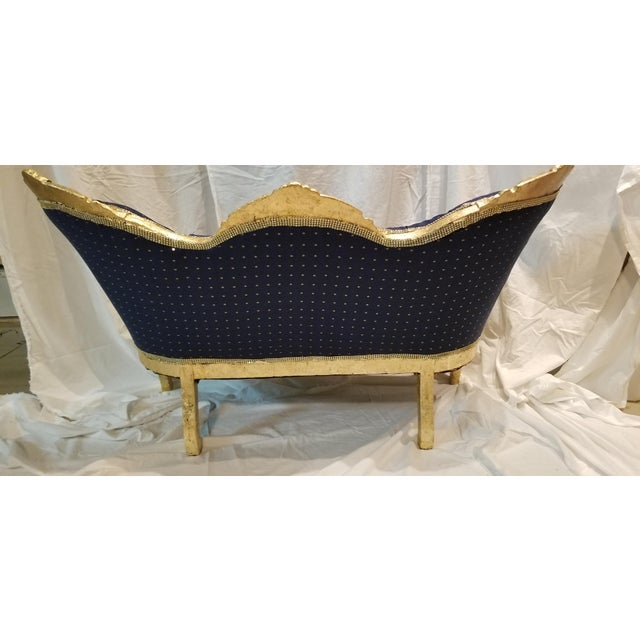 Wood Antique Settee in Navy Linen With Gilded Frame For Sale - Image 7 of 10