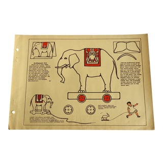 Elephant Pull Toy 1930 Art Deco Print For Sale