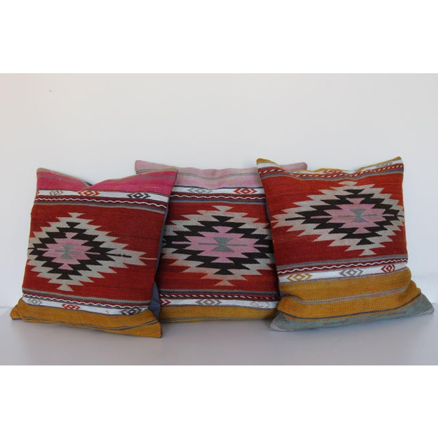 18'' Antique Turkish Kilim Rug Pillows - Set of 3 For Sale In Chicago - Image 6 of 6