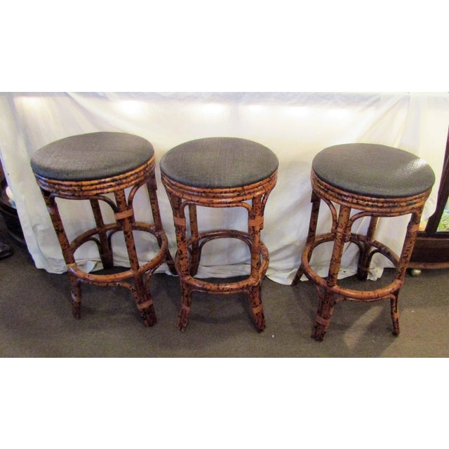Burnt Bamboo Bar Stools With Woven Seats - Set of 3 - Image 2 of 6