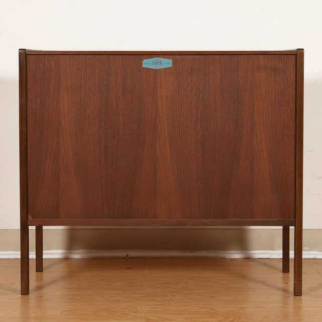 Mid 20th Century Compact Mid-Century Swedish Modern Cabinet in Walnut by Dux For Sale - Image 5 of 13