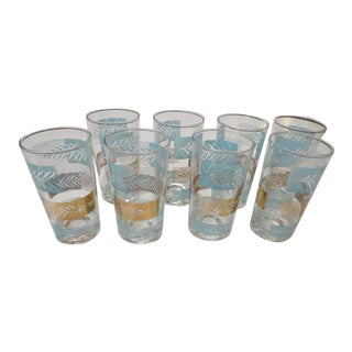 1960s Vintage Mid Century Modern Set of Turquoise and Gold Anchor Hocking Glasses - Set of 9 For Sale