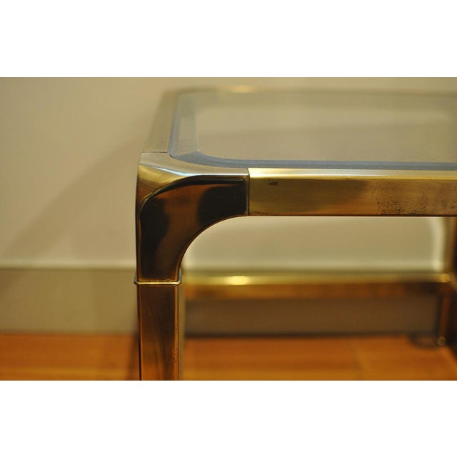 Mastercraft 1970 Hollywood Regency Mastercraft Brass and Glass Low Profile Side Tables - a Pair For Sale - Image 4 of 11