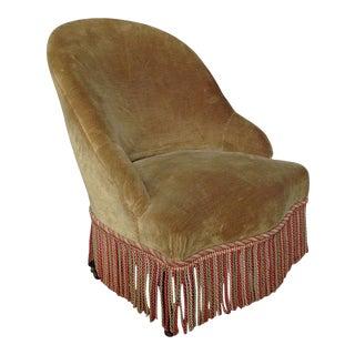 French 19th Century Slipper Chair in Green Velvet