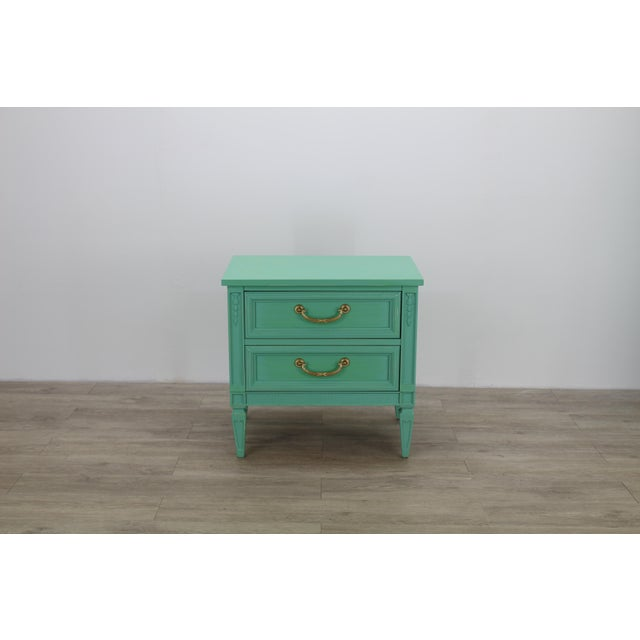 Mid Century Neoclassical Style Nightstand, Green Nightstand For Sale - Image 11 of 11