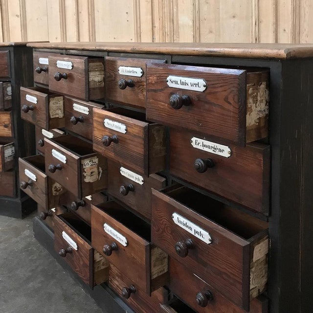 Brown Antique French Pharmacy Cabinets With Original Enamelled Labels - a Pair For Sale - Image 8 of 12