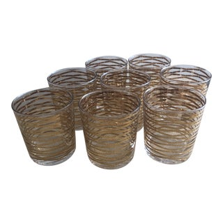 Dwell Studios Gold Ribbon Drinking Glasses - Set of 8 For Sale