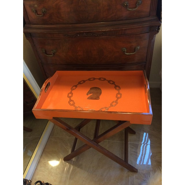 Beautiful hand painted equestrian Hermès orange inspired bar serving tray on folding stand. Equestrian horse head...