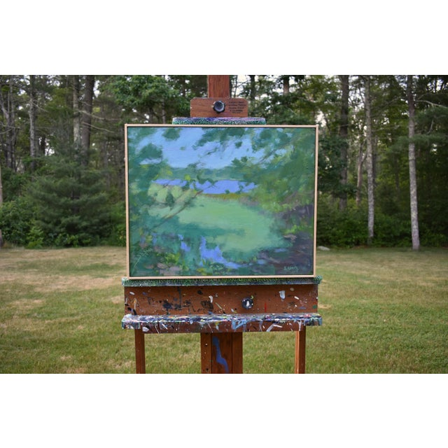 """Contemporary Stephen Remick """"Ocean Through the Trees"""" Contemporary Plein Air Painting For Sale - Image 3 of 12"""