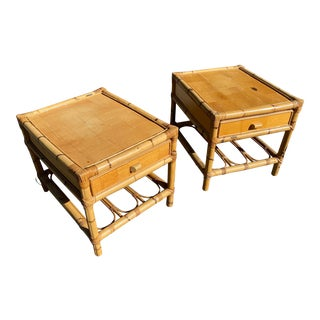 Vintage Spanish Boho Bamboo Nightstands - a Pair For Sale