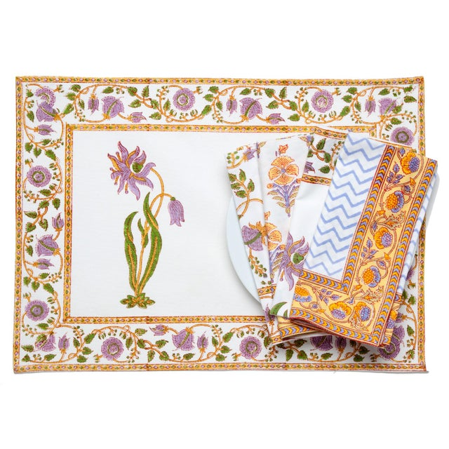 Contemporary Florence Placemats Lilac & Green - A Pair For Sale - Image 3 of 4