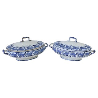 Antique Doulton Flow Blue Dishes - a Pair For Sale
