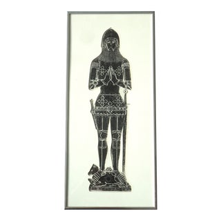Modern Medieval Knight Tomb Rubbing Print For Sale