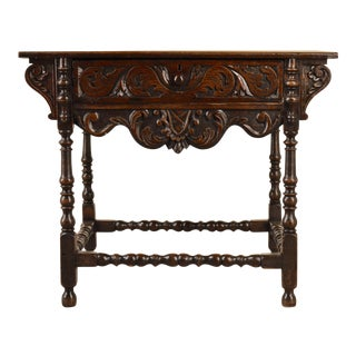 18th Century Georgian Oak Carved Side Table For Sale