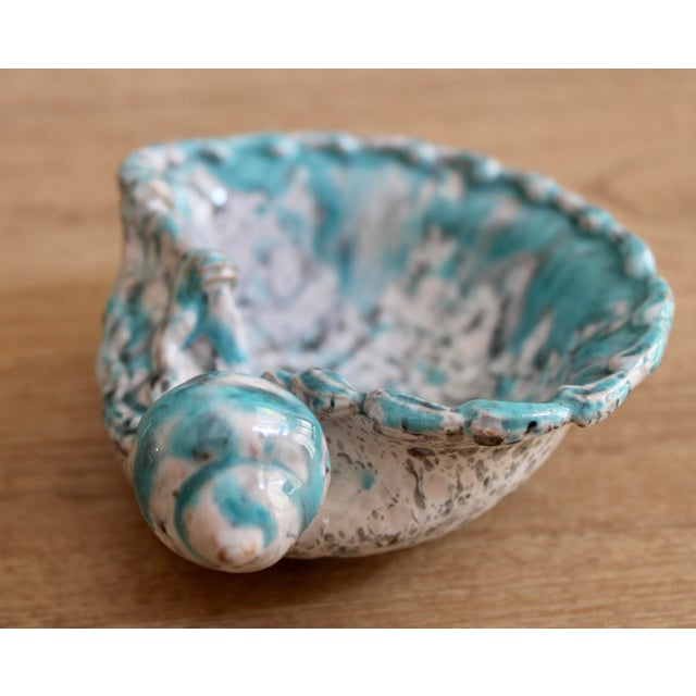 Mid Century Turquoise Blue Italian Pottery Shell Dish by Fratelli Fanciullacci For Sale In Tulsa - Image 6 of 9