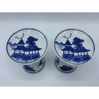 1980s Blue and White Chinoiserie Candle Holders - a Pair Preview