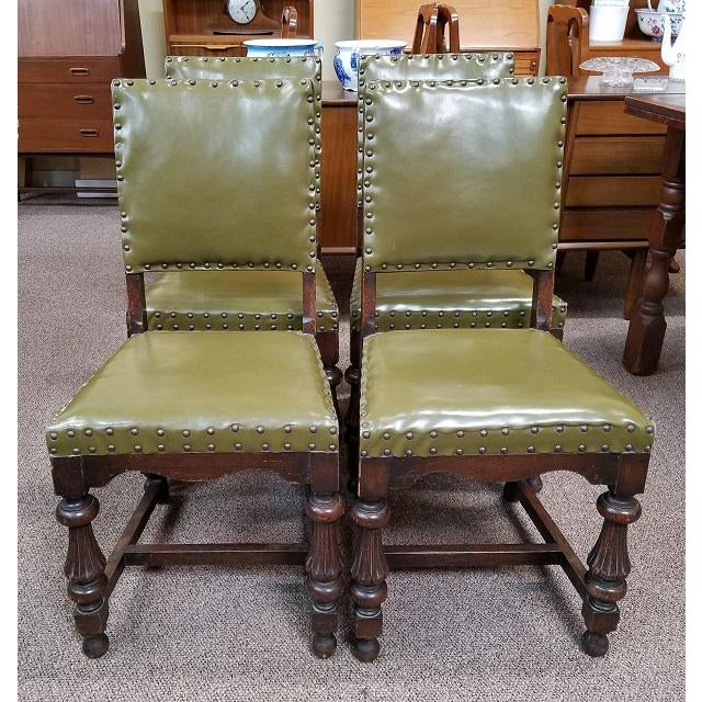 1920s Vintage Oak Dining Chairs w/ Green Leather Seats - Set of 4 For Sale - Image 4 of 4