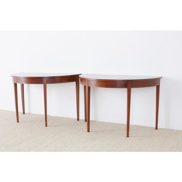 Federal American Hepplewhite Style Demilune Console Tables - a Pair For Sale - Image 3 of 13