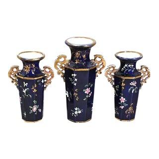 Mason's Ironstone Mazarine Blue Vases - Set of 3 For Sale