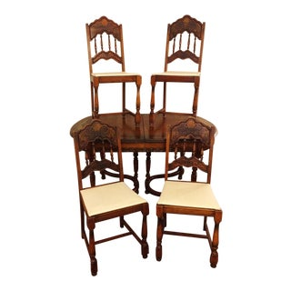 Art Deco Painted Wood Dining Room Table w/ Leaf & Chairs-Set of 5
