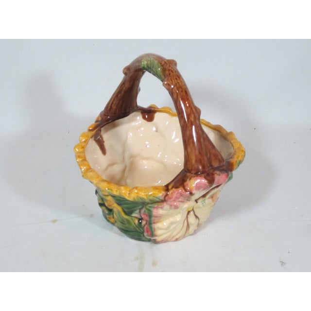 Vintage Majolica Pansy Basket For Sale - Image 9 of 9
