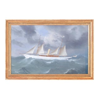 Gouache Painting on Paper of a Yacht For Sale
