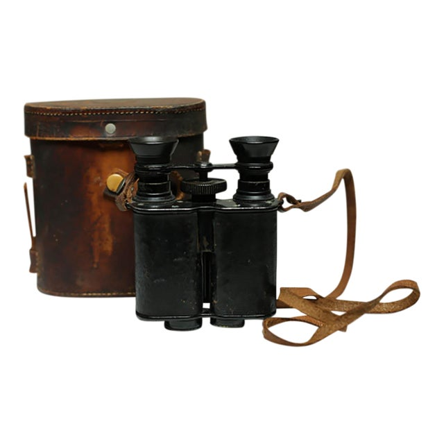 Leather Wrapped Binoculars and Leather Case C. 1940-1950s For Sale