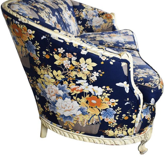 Early 20th Century Louis XVI Style Blue Floral Sofa With Carved Wood Frame - Seats 2 For Sale - Image 5 of 8